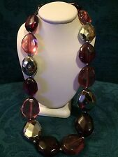 Pink Multi Colored Plastic Clear Beaded Chunky Necklace With Clasp