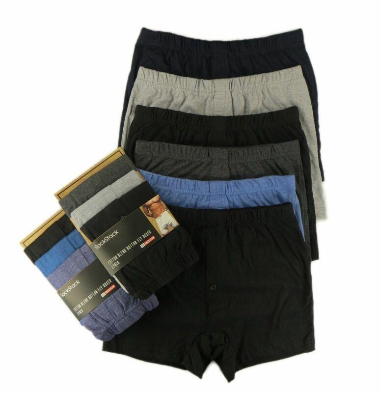 6 Pairs Men/'s Plain Boxer Shorts Underwear Classic Cotton Rich Boxers S M L XL