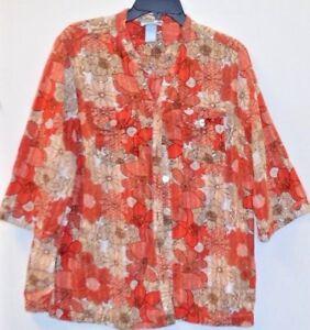 Liz-amp-Me-Size-1X-18-20-Cotton-Blouse-3-4-sleeve-Flower-pattern