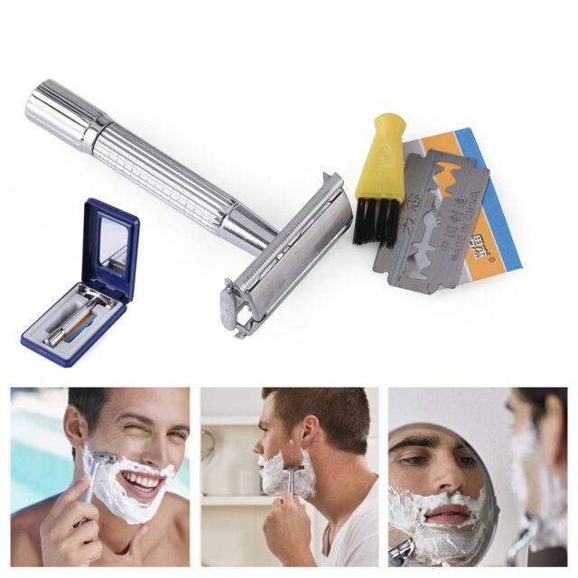 Men's Double Edge Shaving Safety Razor Manual Blade Shaver Trims Chrome