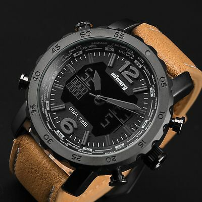 INFANTRY Mens Military Digital Quartz Wrist Watch Aviator Pilot Luxury Leather
