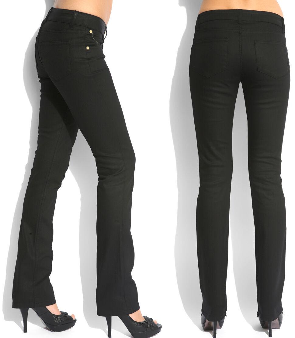 Da Donna Superfine Nero Cerato Jeans Pantaloni Skinny Slim Fit BNWT RRP