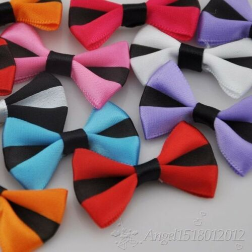 20//40////200pcs Stain Ribbon Bows Flower Sewing Appliques Wedding Deco  A098