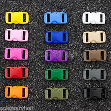 """Lot of 50 - Mixed Colors 3/8"""" Curved Quick Release Buckle Paracord Bracelet"""