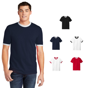 American-Apparel-Fine-Jersey-Ringer-T-Shirt-Ring-Spun-Cotton-Retro-Classic-2410W
