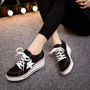 Women-039-s-Wedge-Heel-Canvas-Sneakers-Platform-Lace-Up-Star-Studded-Casual-Shoes-Sz