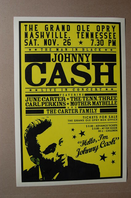 Johnny Cash Concert Tour Poster With June Carter Grand Ole Opry Ebay