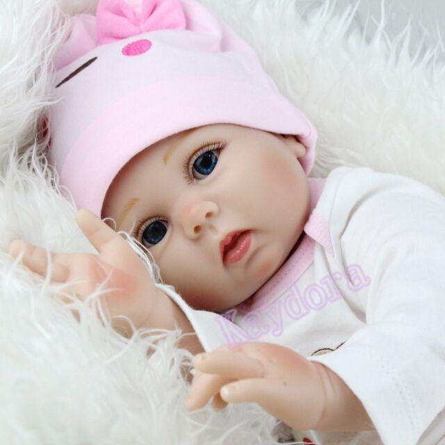 22inch Lifelike Vinyl Silicone Girl Doll Newborn Full