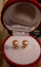 Birthday gift beautiful akoya pearls  set on gold plated earings .rose box.