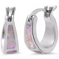 Best Seller! Pink Fire Opal Hoop .925 Sterling Silver Earrings