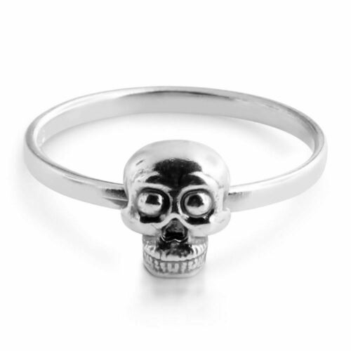 Details about  /Azaggi 925 Sterling Silver Stackable Ring Skull Face Gothic Design Men/'s Jewelry