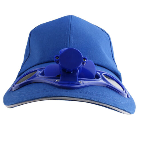 Solarventilator Hut Kappe Basecap Sommer Kappe mit kühlen Ventilator Blau
