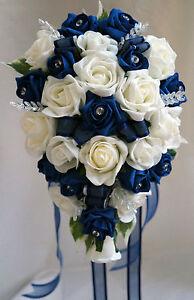 Bridesbridesmaids wedding bouquet flowers navy blue white or ivory image is loading brides bridesmaids wedding bouquet flowers navy blue white mightylinksfo