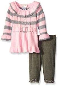 8f04dd4c4 Little Lass Pink & Gray Sweater Dress & Leggings Outfit Infant Girl ...