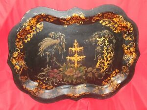 """Large Antique Toleware Tray w/ Flowers / Plants And Fountain - 29 1/4"""" x 22 1/4"""""""