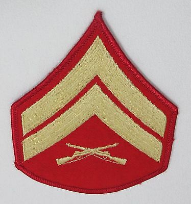 United States Military Marine Corps Corporal E - 4 Patch Red & Gold
