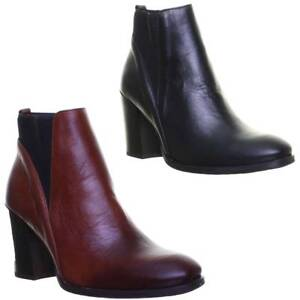 Justin-Reece-Sock-Fitted-Block-Heel-Chelsea-100-Leather-Size-UK-3-8