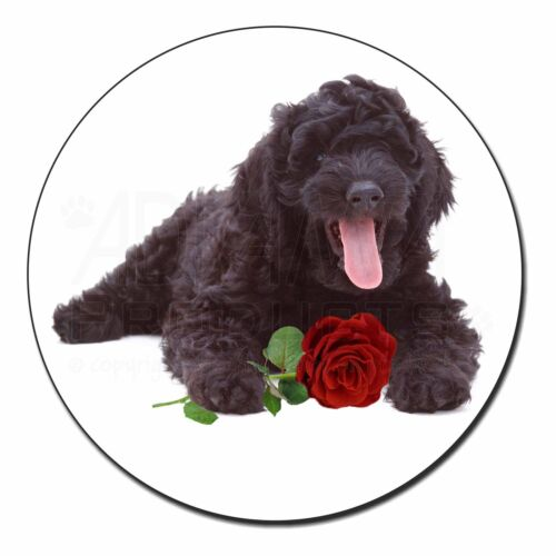 AD-LD2RFM Labradoodle Dog with Red Rose Fridge Magnet Stocking Filler Christmas