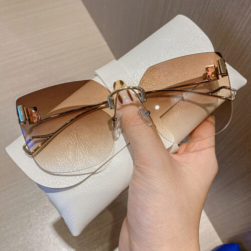 New Luxury Oversized Rimless Sunglasses Women 2021 Fashion Outdoor Square Shades