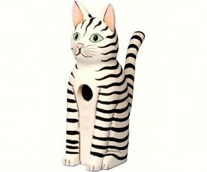Songbird Essentials Hand-Painted Sitting Striped Cat BirdHouse SE3880111