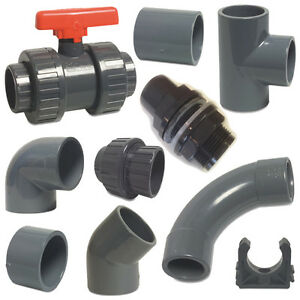 Pvc metric solvent weld pressure pipe fittings 20mm to for Plastic plumbing pipe types