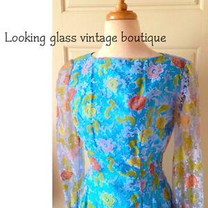 Vintage-40-039-s-50-039-s-Dress-Roses-MOD-Velvet-Floral-Pattern-Garden-Tea-Party-OOAK