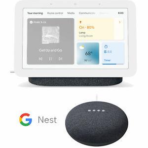 Google Nest Hub Smart Display, Charcoal (2nd Gen) with Mini Speaker Bundle