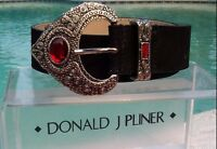 Donald Pliner $165 Black Or Rust Suede Metallic Leather Belt Xs/s/m