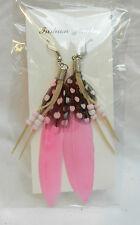 Pink Feather Earrings - BNIB