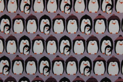 Lille Tissu Freezing PENGUINS pingouins Purple sommersweat Katrin Riedl//et voilà