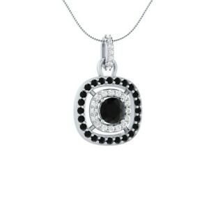 1-45-CT-Round-Solitaire-Black-Spinel-18-034-Necklace-Pendant-14k-White-Gold-GP-Gift