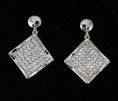 Princess Clear Austrian Rhinestone Crystal Dangle Drop Earrings Bridal Prom E15