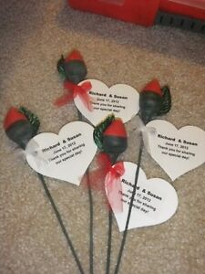 Image Is Loading 60 Chocolate Roses With Tags Wedding Favors Hershey