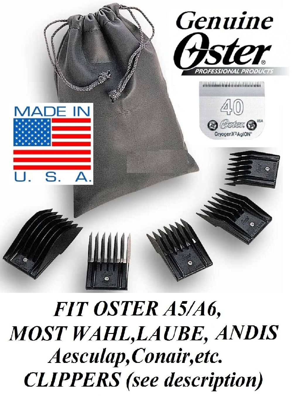 OSTER A5 Attachment Guide 5 Comb SET&Cryogen-X 40 BladeFit A6,Many Wahl Clipper