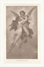 Amor und Psyche W. Bouguereau Mythologie Fliegen Liebe Flügel Holzstich C 1192