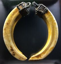 Real 2 Spike Teeth Pig Evil Boar Natural Tusk Thai Amulet Talisman Pendant