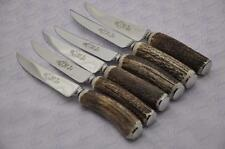 Six Genuine Chatsworth Stag/Antler Handle Steak Knives Made Sheffield England