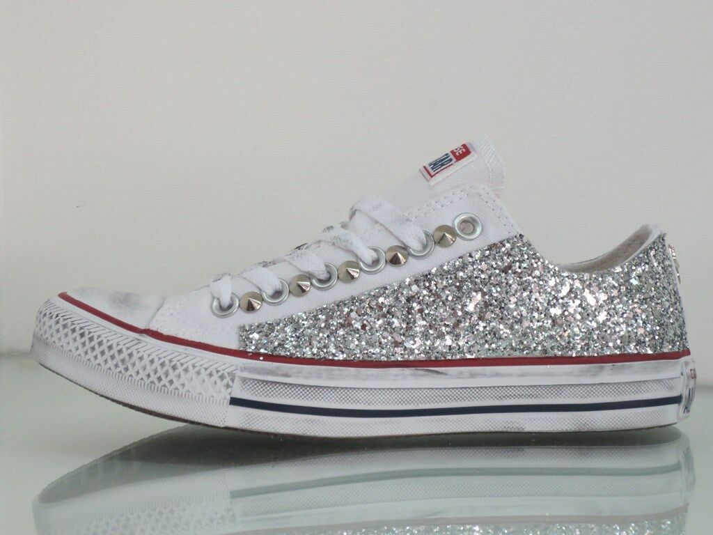Converse all star OX Bianco artigianali glitter argento artigianali Bianco c83334