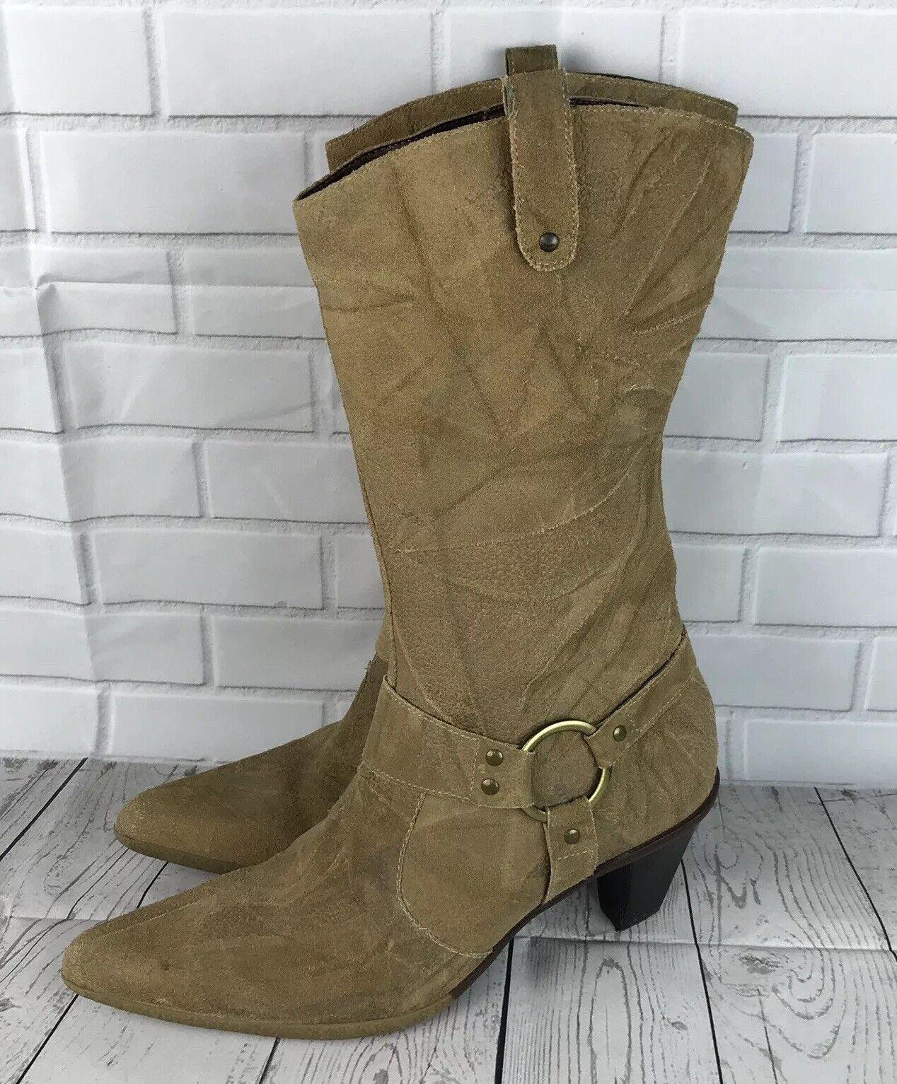 Andrea Carrano Tan Suede Mid Calf Harness Boots Heel Womens Sz 9
