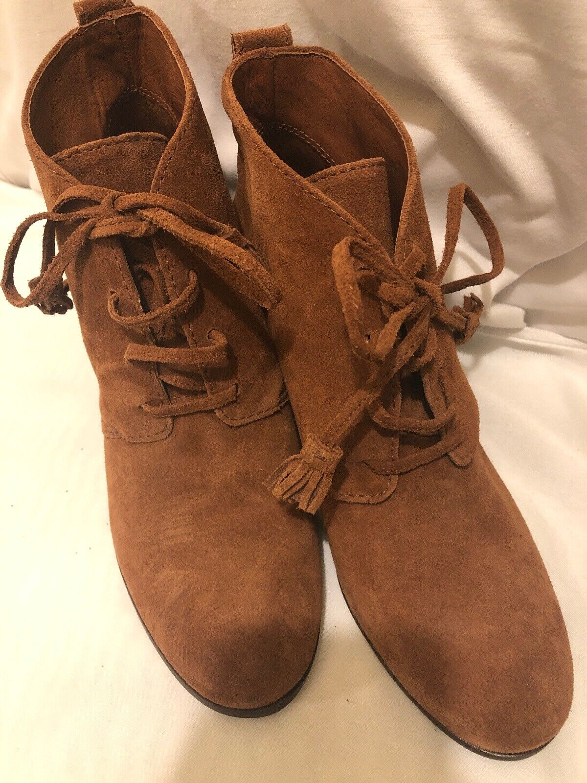Nurture Booties Sz 9 Brown Suede Granny Boots Lace Up Moseley Bootie