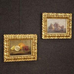Dipinti-italiani-coppia-di-quadri-cornici-nature-morte-olio-tavola-stile-antico
