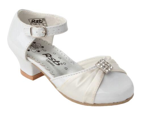 Filles Blanc Verni Brillant Satin Demoiselle D/'Honneur Fleur Fille Robe De Mariage Chaussures 6-2