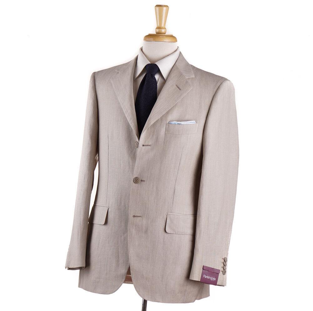 NWT 3495 SARTORIA PARTENOPEA Woven Beige Wool-Linen Suit Slim 46 R (Eu 56)