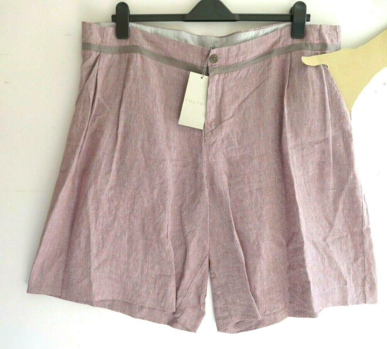 RRP  POETRY, 22 UK, Dusky Pink   Grey Striped 100% Linen High Rise Shorts