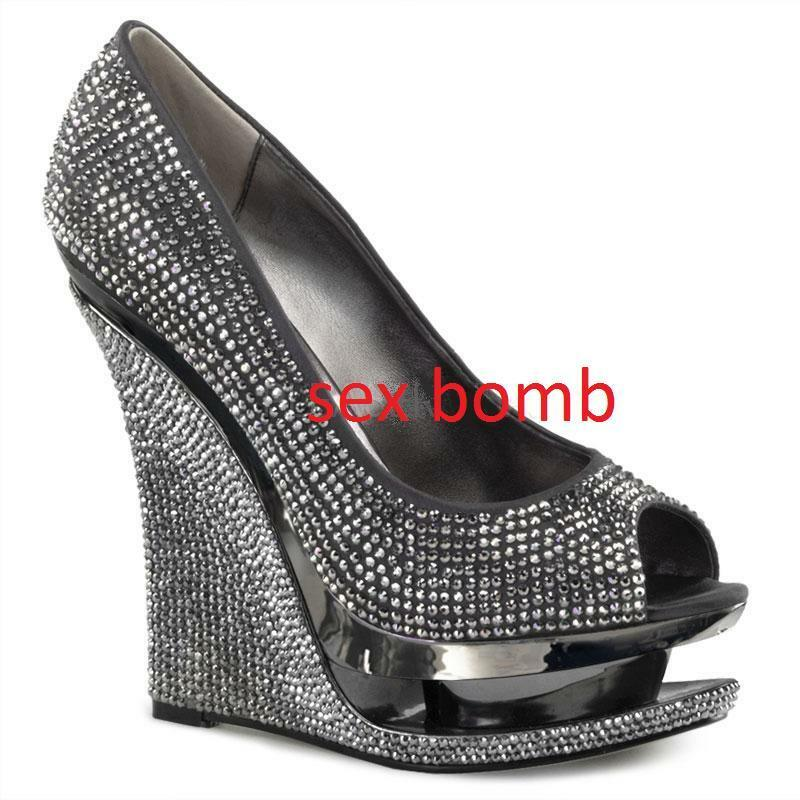 Sexy Hot Womens shoes Platform Peep Toe Rhinestone Wedge Heels Heel 14 from 35 to
