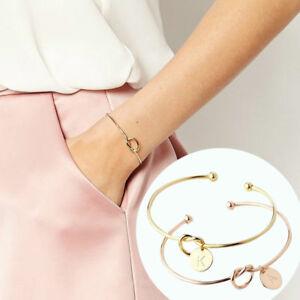 Women-Fashion-Chic-Initial-Knot-Bracelet-Bridesmaid-Opening-Cuff-Bangle-Jewelry