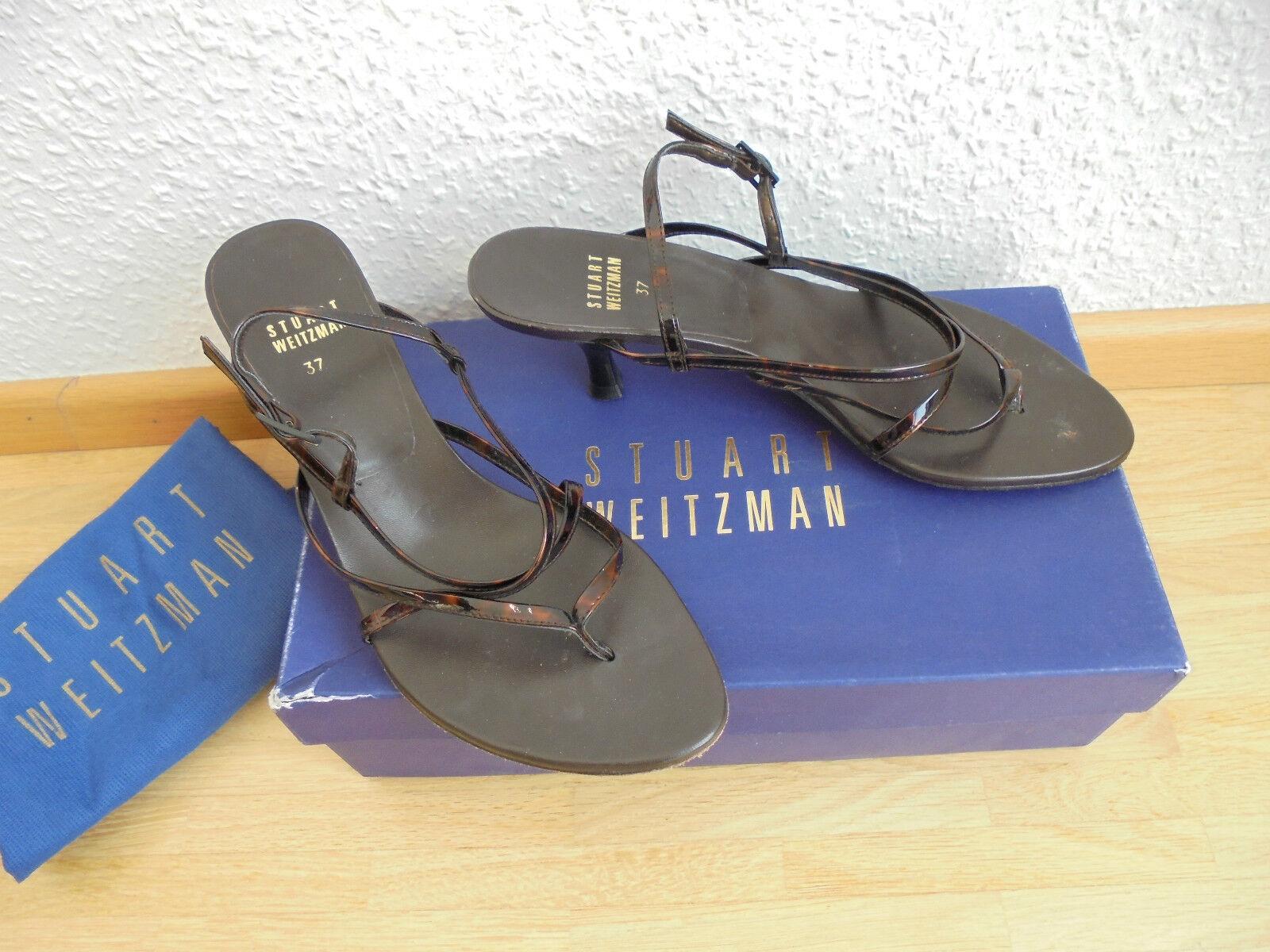 Stuart Weitzman Lackleder Sandaleette NP:  w NEU Pumps Schuhe Gr. 37