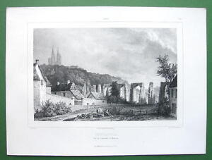 FRANCE-Coutances-Cathedral-amp-Ruined-Aqueduct-Lithograph-Antique-Print