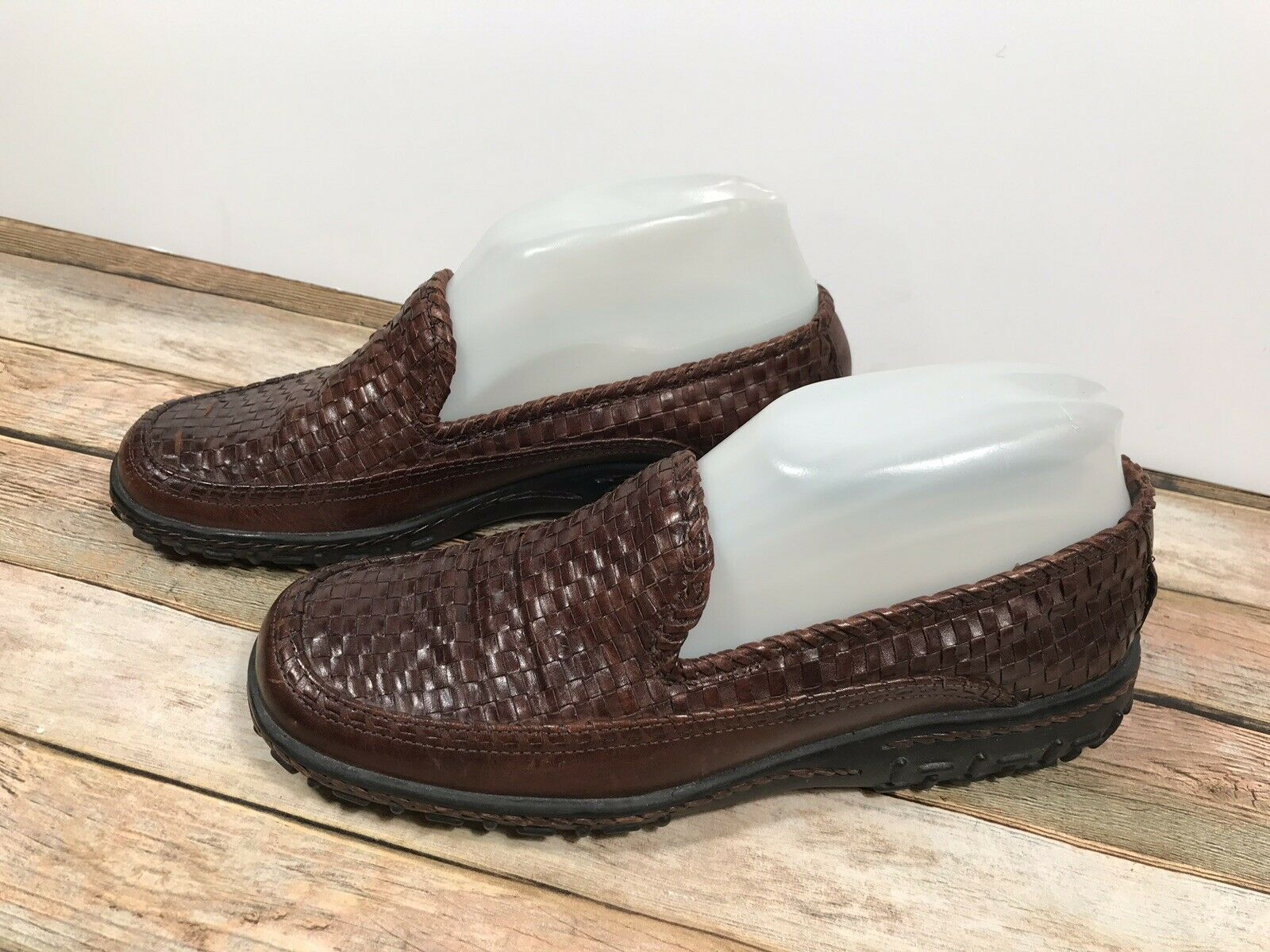 Cole Haan Country Adrien F9425 Brown Woven Leather Slip On Loafers Women's 7B