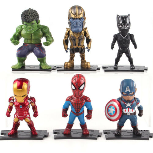 6Pcs Marvel Avengers Thanos Iron Man Hulk Q Ausführung PVC Figur Model Spielzeug